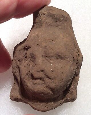 #24 Ancient Ptolemic Egypt Votive Terra-cotta Head 300-100BC - PUTTI ANGEL