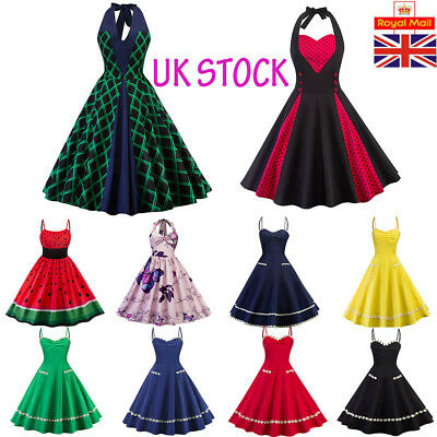 Women Vintage Retro Christmas Swing Dress Rockabilly Evening Dancing Party Dress