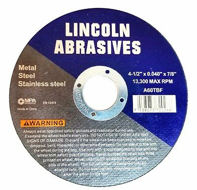 """25 Pack 4-1/2"""" .040"""" Cut-off Wheel 4.5 Cutting Discs Stainless Steel & Metal"""
