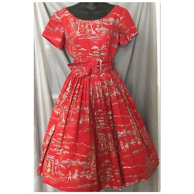 1950s Alfred Shaheen Red, Silver Screen-Printed Fit-Flare Dress Vintage VLV Tiki