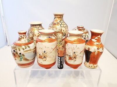 Superb Job Lot 7 x Japanese Antique Satsuma Signed Miniture Meiji Vases
