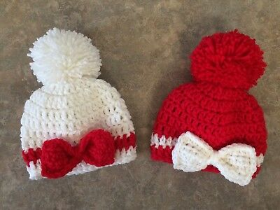 Crochet Christmas Twin Hat Set newborn -3 month baby Girl Photo Prop Bow