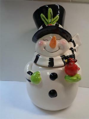 Christmas Snowman Cookie Jar Ceramic Top Hat Scarf 11 inch tall Red Cardinal