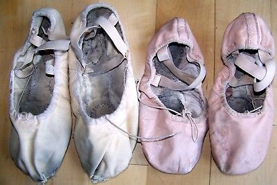 Two pairs soft ballet slippers shoes Leather & Canvas ballerina very used dance