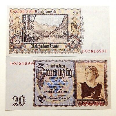 20 Reichsmark 1939 / Germany / Third Reich / Qualitative Copy Of Banknote
