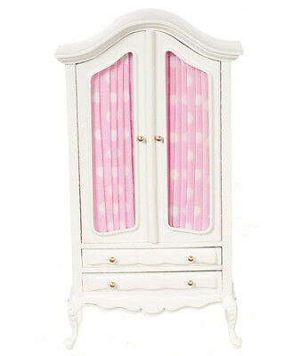 DOLLHOUSE MINIATURE White & Pink Baby Nursery Room Armoire Wardrobe  1:12 scale