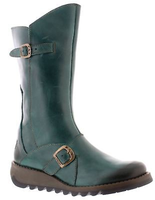 Fly london Mes 2 Petrol Leather Womens Mid Calf Boots