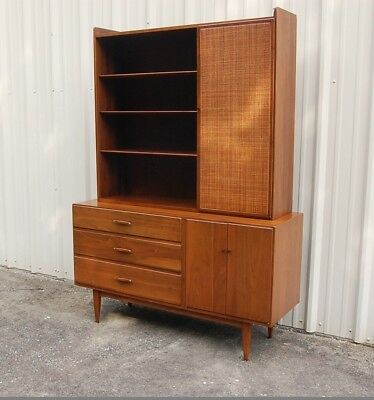 Mid Century Modern 2 Piece Conant Ball China Hutch Solid Walnut