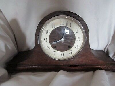 Vintage Clock wood and chrome Selling for spares or repair as no key