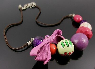Chunky Multi-Coloured Bead Necklace with a Green Ribbon Fastening RRP £16.99