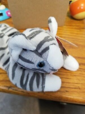 1997 Ty Beanie Baby Babies Prance the Gray Tiger Tabby Cat New with Tags