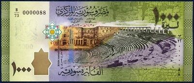 LOW SERIAL 0000088 SYRIA 1000 POUNDS PICK 116a 2013 UNC