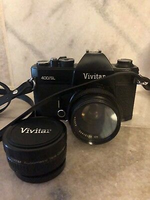 Vintage Vivitar 400/SL 35mm Camera with 50mm Lens and Telephoto Converter