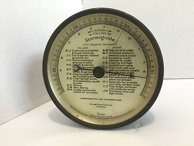 "Antique Stormoguide The Simplified Barometer 5"" Dial Tycos Taylor Instrument"