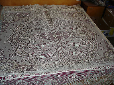 #976  Beautiful Vintage Filet Lace Coverlet  244cm/182cm(96''x72'')