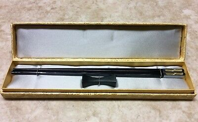 Black Chopstick Ornate top - set with wooden rest in Gold Fabric Box NEW