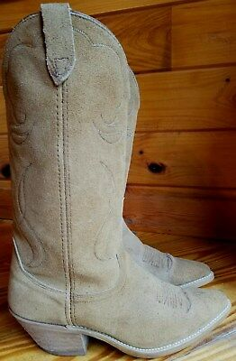 VTG ARIAT Suede Leather USA BROWN Tall TAN Cowboy Boots MENS 8D Western