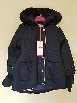14447b5c7253c3 TED BAKER GIRLS Navy Padded Coat   Jacket with Mittens. 2-3 Years ...