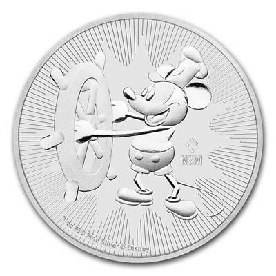 2017 1oz Steamboat Willie Silver New Zealand 1 ounce Silver  Coin unc in capsule