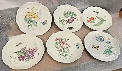 """6 Lenox China BUTTERFLY MEADOW. Luncheon Plates 4 Different Designs EXCELLENT 9"""""""