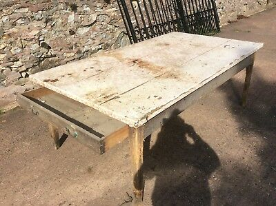 "Elm antique farmhouse kitchen table. 7'1"" X 4'  for restoration."