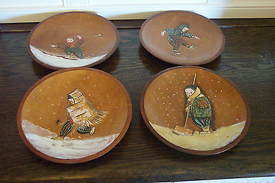 VTG. Japanese DECORATIVE Wood Plates Hand Painted Japanese Folk Art Signed