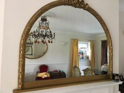 Large antique - late 19th century over mantle gilt mirror 130 x 102h