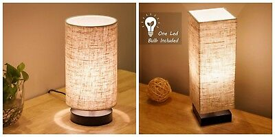 Table Desk Lamp Square And Round Fabric Elegant Design Wooden Nightstand Lamps
