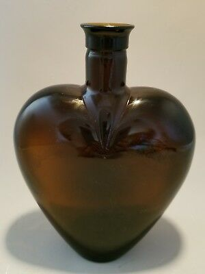 Glass heart bottle old Amber Brown Paul Mason Blood Red Heart Shaped Decorative