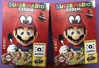 New SUPER MARIO Cereal Limited Edition Nintendo w/ Amiibo LOT of 2 boxes