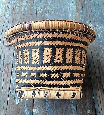 Antique Chinese Intricate Design Woven Natural Bamboo & Black-Dyed Bamboo Basket