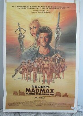 1985 Original Mad Max Beyond Thunderdome Movie Poster Full Sheet Mel Gibson Tina