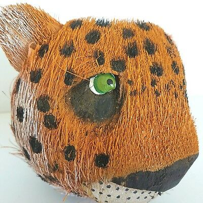 Coconut Cheetah Leopard Head Painted With Green Shell Eyes Orange White Hollow