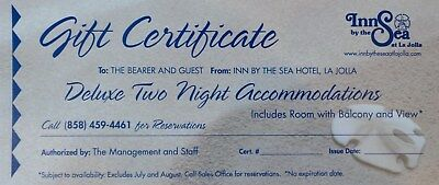 La Jolla - Two Night Stay GIFT CERTIFICATE Inn by the Sea Hotel - San Diego, CA