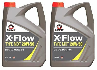 2 x COMMA 4.5L X-FLOW TYPE MOT 20W50 MINERAL MOTOR OIL 4.5 LITRE