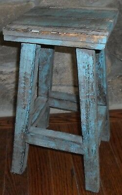 Small Old Blue Cottage Stool