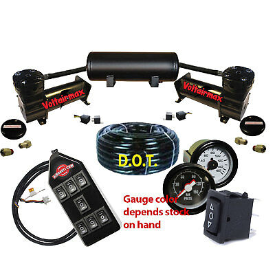 Air Ride Suspension Compressors 480 Black 5 Gal Tank, all items as shown