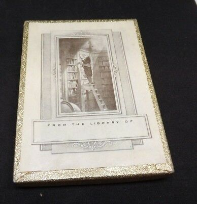 Vintage Antioch Publishing Bookplates Man on Library Ladder