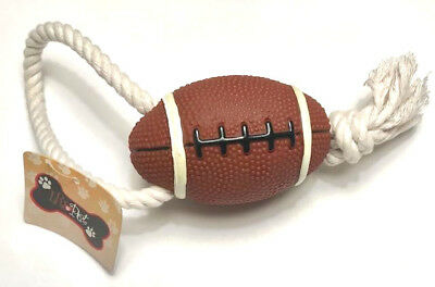 "Latex Dog Toy - Football 4"" with Squeaker with Tug Rope 10"" overall"