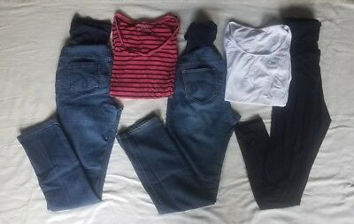 Motherhood Maternity Lot of 5 Pieces: 2 Jeans 1 Black Leggings 2 Tops Size Small