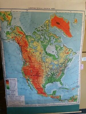 VINTAGE 1954 PULL-DOWN Map of North America - Canvas Back - Nystrom ...
