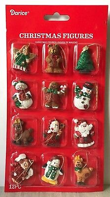 "Miniature Dollhouse Mini CHRISTMAS Tree ~ 12 1¼"" Resin Sparkly Rustic Ornaments"