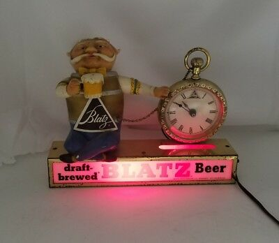 Working 1950's Blatz Beer Barrel Man Pocket Watch Clock