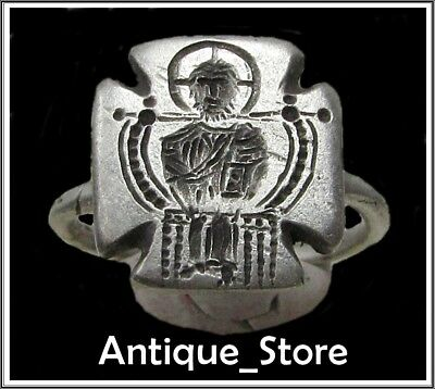 ** CONSTANTINE VII **Ancient Silver Byzantine Ring** CROSS **