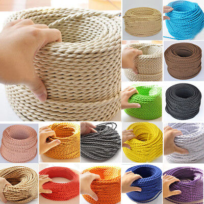 Two Core Twisted Braided Fabric Cable Lighting Lamp Flex Vintage Choice of Color