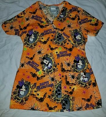 scrubs scrub top holiday halloween disney mickey minnie mouse donald