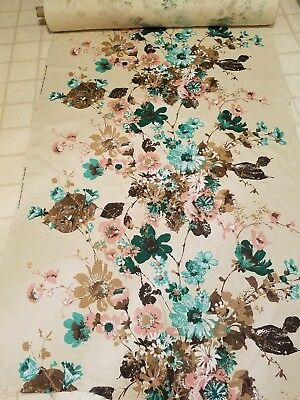 Vintage Screen Print Design by Walter Fabrics   Drapery Upholstery Floral BTY