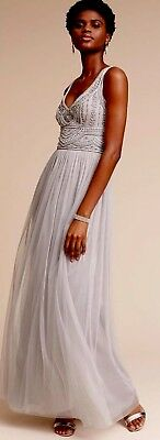 NEW Anthropologie SOLD OUT BHLDN Gray Fog STERLING Bridesmaid M.O.B Sz6 MSRP$250