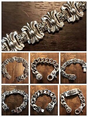 51dbfdf80af7  ORDER  Authentic CHROME HEARTS 925 Sterling Silver Thick Bracelet  COLLECTION