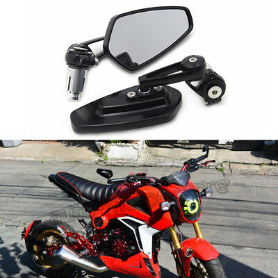 """Black Tapered Motorcycle 7//8/"""" Handle Bar End Side Mirrors For Honda Grom Msx 125"""